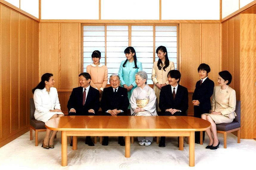 Japanese Emperor Akihito and Empress Michiko with their family members (front row, from left) Crown Princess Masako, Crown Prince Naruhito, Prince Akishino, Prince Hisahito and Princess Kiko; (back row, from left) Princess Aiko, Princess Mako and Pri