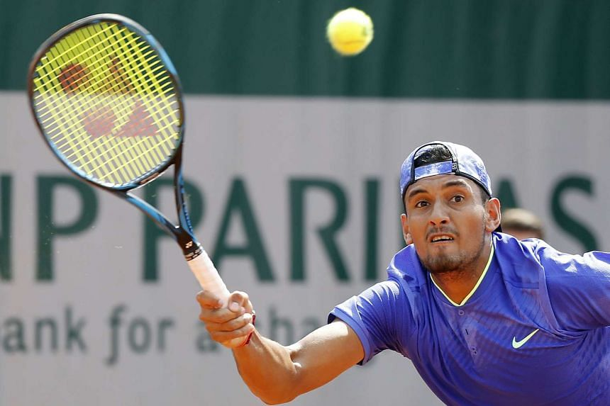 Nick Kyrgios of Australia in action against Kevin Anderson of South Africa during their men's single 2nd round match.