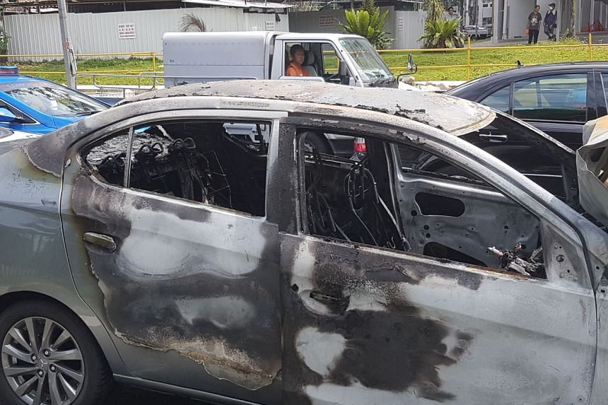 A car that caught fire along Clementi Road on June 2, 2017.