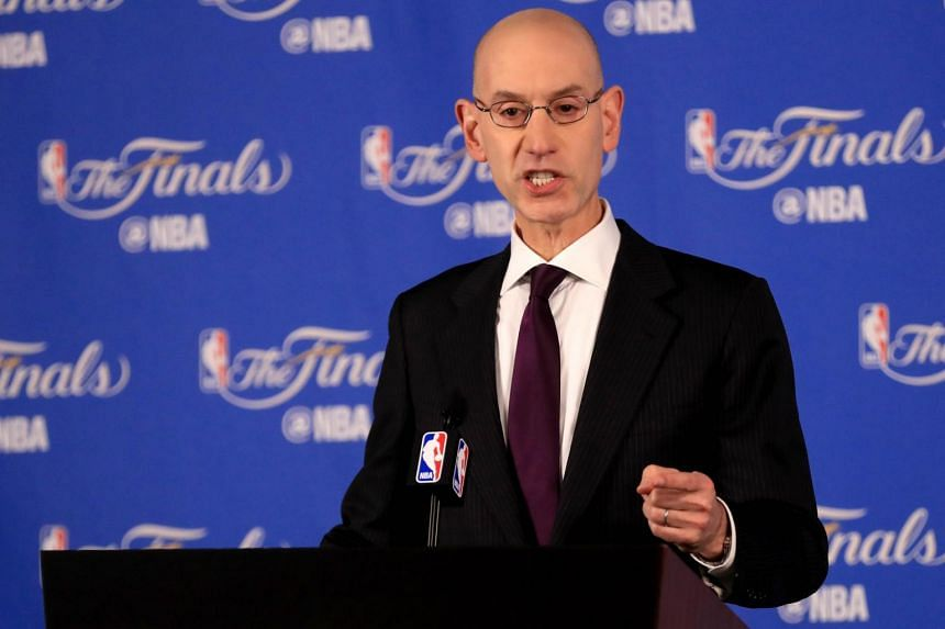 NBA Commissioner Adam Silver speaking to the media before Game 1 of the 2017 NBA Finals at Oracle Arena on June 1, 2017 in Oakland, California.