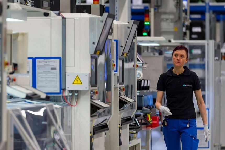 A Daimler battery factory in Germany. Demand for goods is growing at the steepest rate in six years in the euro zone. Germany, Europe's largest economy, led the charge, but IHS Markit said solid upturns were also recorded in other countries