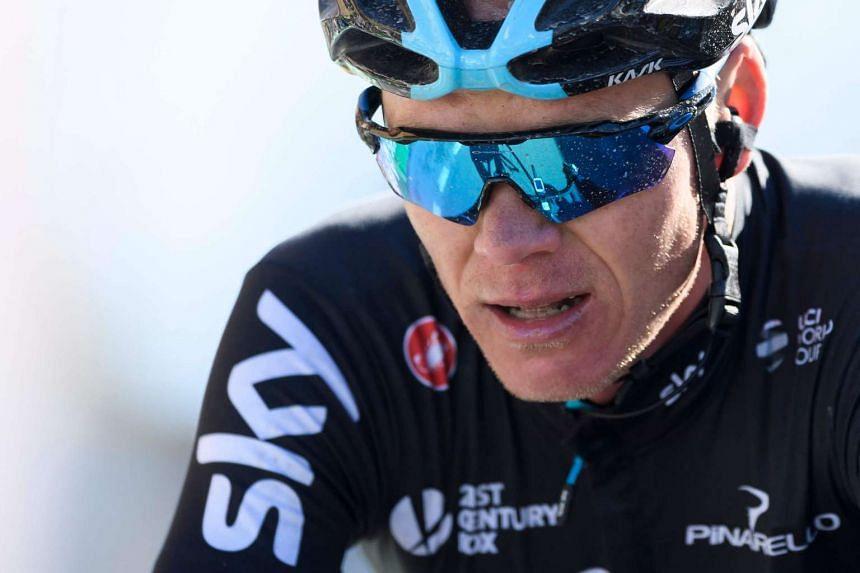 Britain's Chris Froome of team Sky reacts after the fourth stage of Tour de Romandie UCI protour cycling race in Leysin on April 29, 2017.