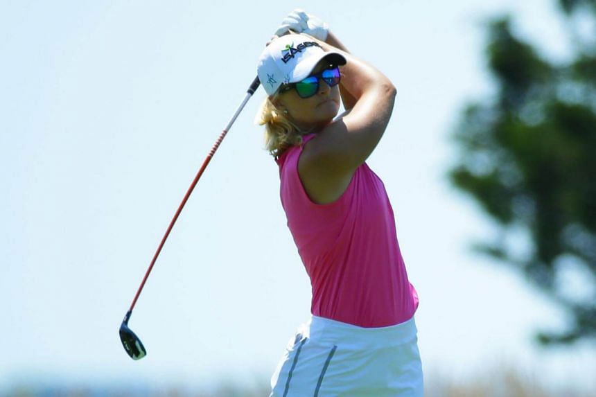 Anna Nordqvist of Sweden hits her second shot on the third hole during the first round of the ShopRite LPGA Classic presented by Acer on the Bay Course at Stockton Seaview Hotel & Golf Club in Galloway, New Jersey, on June 2, 2017.