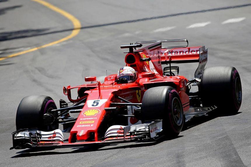 Ferrari's Sebastian Vettel in action during the Monaco Grand Prix 2017 in Monte Carlo on May 28, 2017.