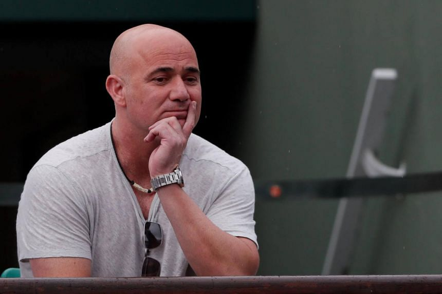 Andre Agassi coach of Serbia's Novak Djokovic at French Open tennis tournament at Roland Garros in Paris, France, on June 2, 2017.