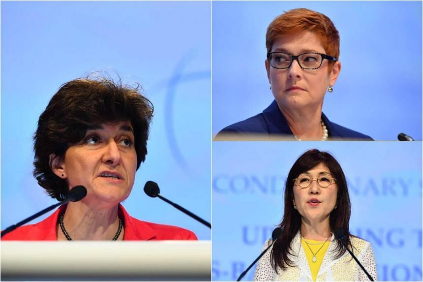 (Clockwise from left) France's Minister of the Armed Services Sylvie Goulard, Australia's Defence Minister Marise Payne and Japan's Minister of Defence Tomomi Inada, speaking at the annual Shangri-La Dialogue on Saturday (June 3).