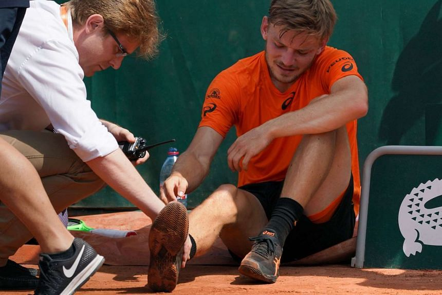 Goffin (right) slipped and hurt his ankle.