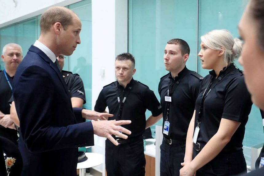 Britain's Prince William visits the headquarters of Greater Manchester Police, June 2, 2017.