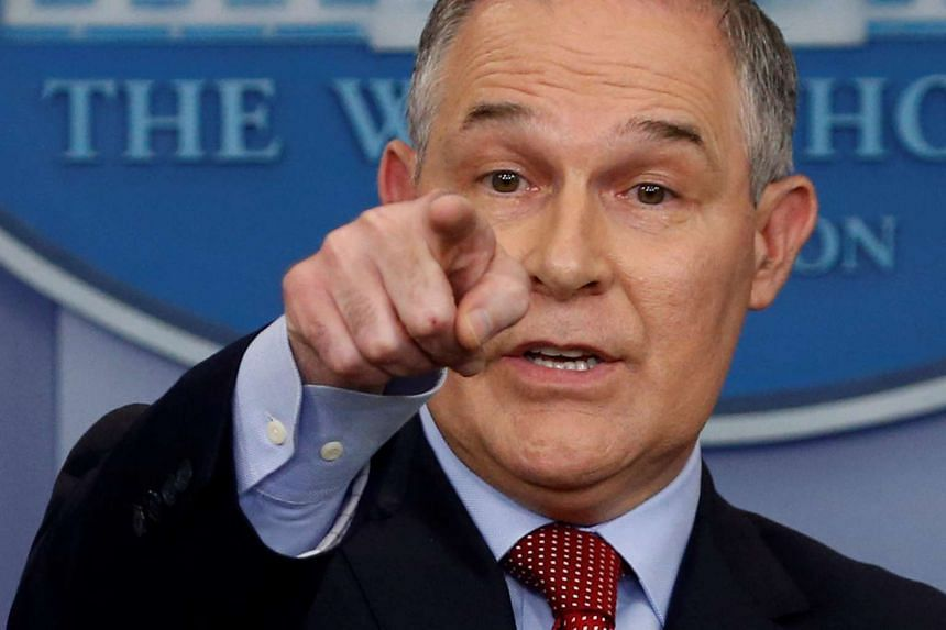 Scott Pruitt takes questions about the Trump administration's withdrawal of the US from the Paris climate accords.