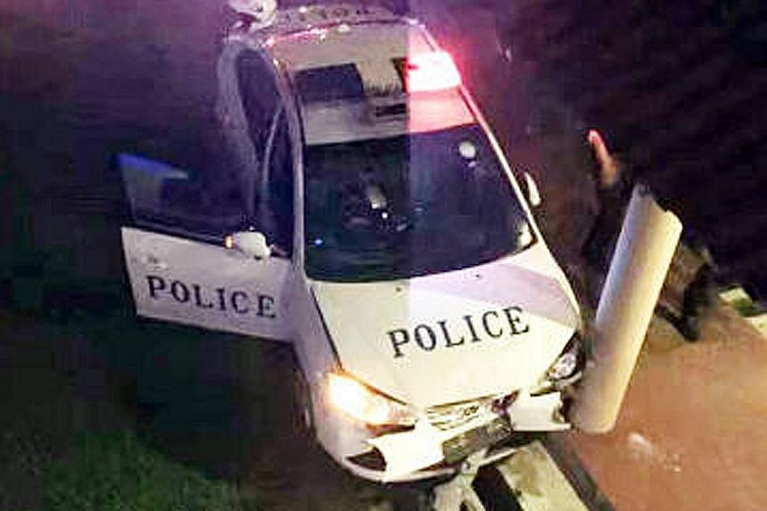 The car chase ended in Normanton Park, where the driver put up a violent struggle, injuring two police officers.