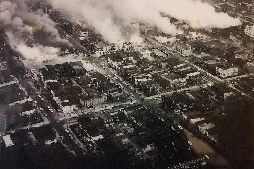 An aerial view of the riots in U Street and Columbia Heights in north-west Washington DC that left the neighbourhood stagnated for 20 years.