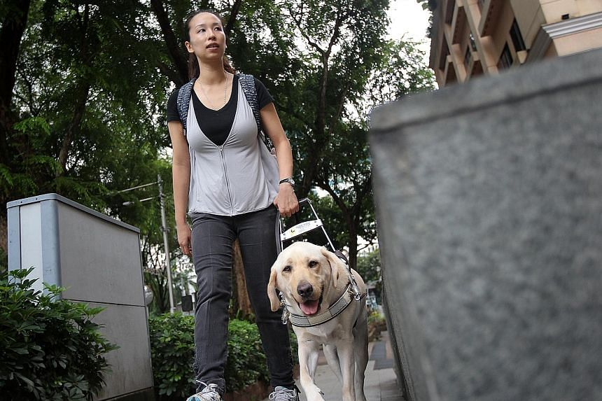 Ms Cassandra Chiu with her guide dog Esme. Ms Chiu set up The Safe Harbour, Counselling Centre and has established a steady client base over the past six years.