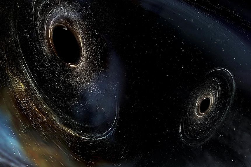 An artist's rendering showing two merging black holes similar to those detected by Ligo. In the latest event, a black hole 19 times the mass of the sun and another one 31 times the sun's mass, married to make a single hole.