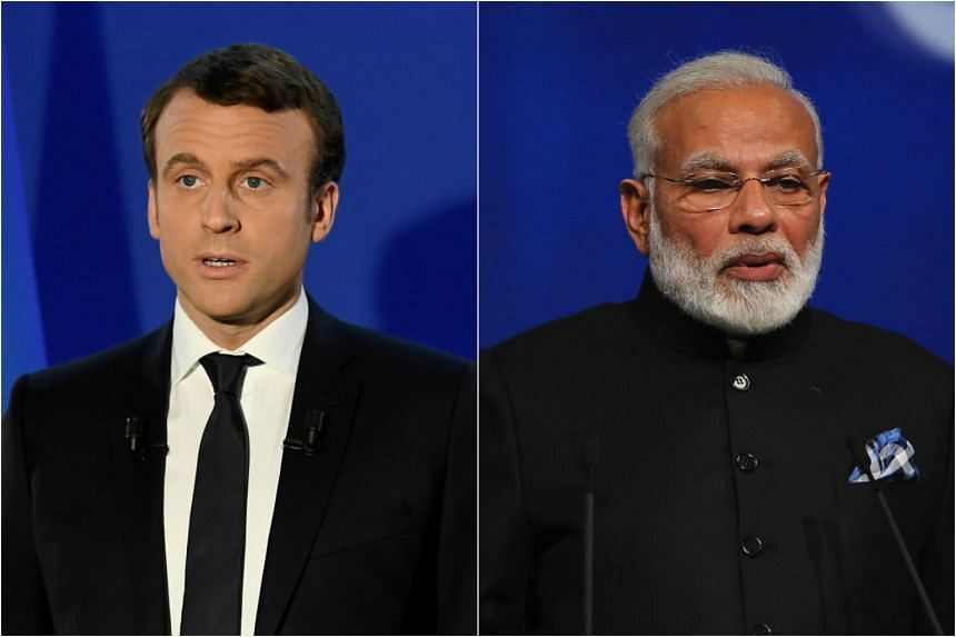 President Emmanuel Macron(left) will meet Prime Minister Narendra Modi in Paris, France on June 3, 2017.