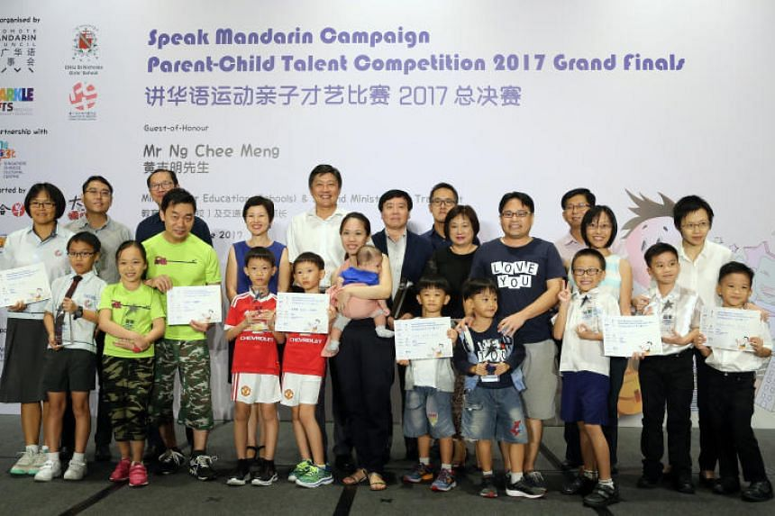 The top three teams in each of the three categories at the Grand Finals of the Speak Mandarin Parent-Child Talent Competition 2017. Twenty-six teams of parents and children were selected as finalists and had to stage a five-minute performance in Mand