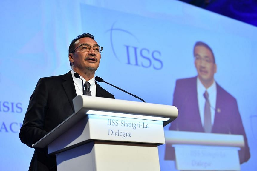 Malaysian Defence Minister Hishammuddin Hussein speaking at a discussion on challenges facing the Asia-Pacific at the annual Shangri-La Dialogue on Saturday (June 3).