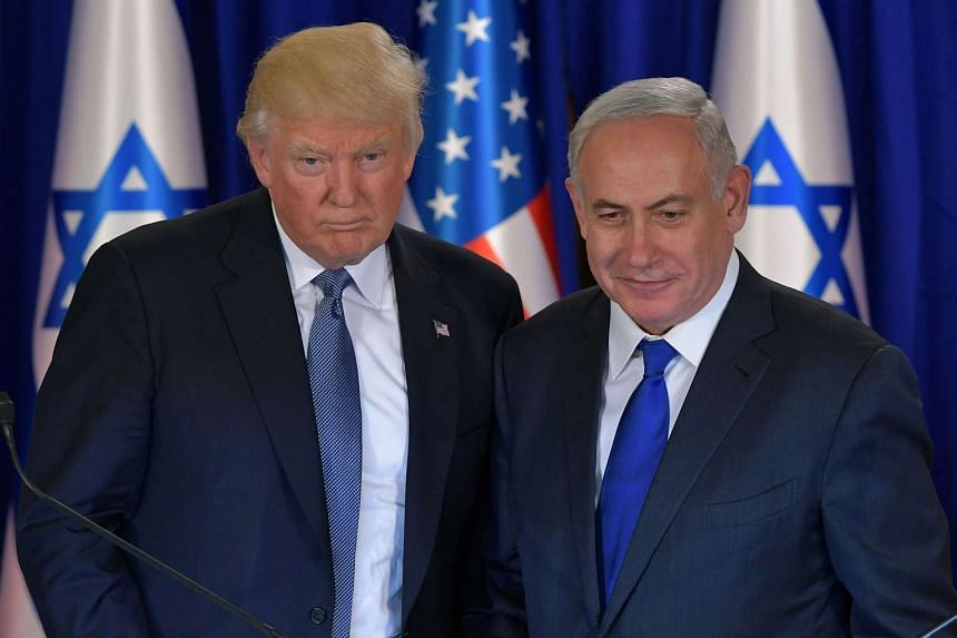 US President Donald Trump (left) and Israel's Prime Minister Benjamin Netanyahu after a press conference prior to an official dinner in Jerusalem on May 22, 2017.