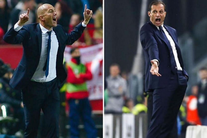 Real Madrid's French coach Zinedine Zidane (L) and Juventus' Italian coach Massimiliano Allegri.