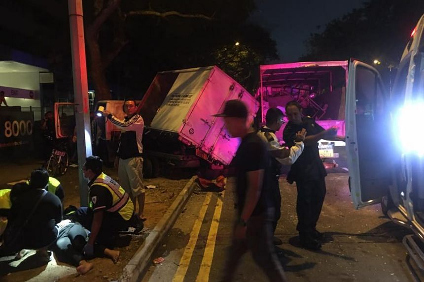 The chain collision involving two cars and two lorries happened along Woodlands Avenue 5, towards Woodlands Avenue 9, shortly before 6am.