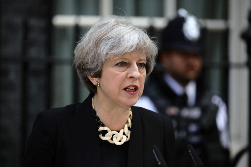 British PM Theresa May speaking outside 10 Downing Street, following the attack on London Bridge and Borough Market, on June 4, 2017.