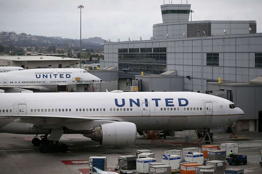 United Airlines planes on the tarmac at San Francisco International Airport in the US.
