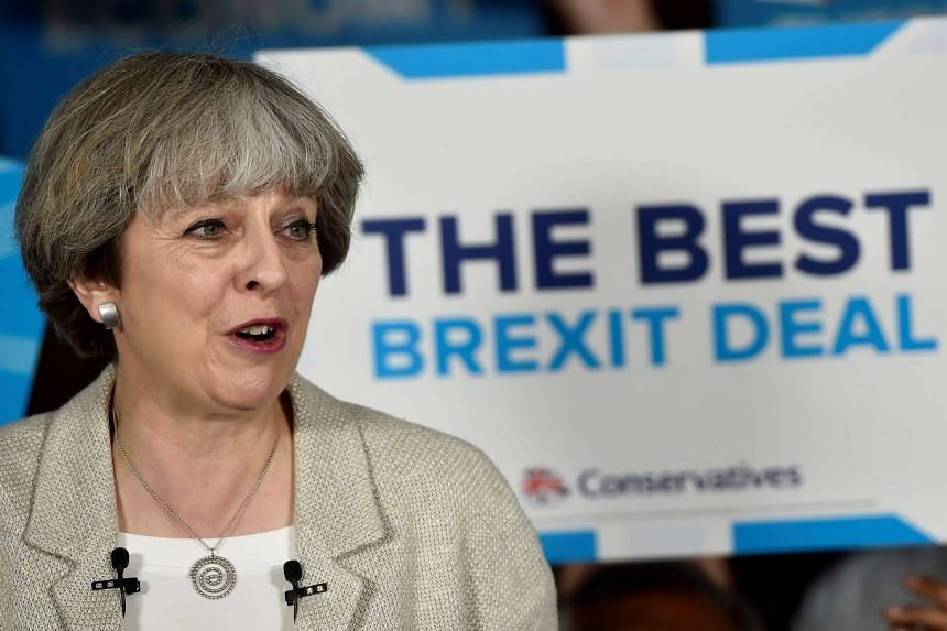 Theresa May speaks at an election campaign event, June 3, 2017.