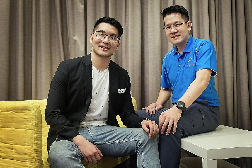 Surviving a horrific accident during a motorcycle trip in Thailand led Mr Desmond Lim (right) to approach SGH to start a trauma victim support group, in which volunteers like himself could share their experiences and encourage people like Mr Jason Li