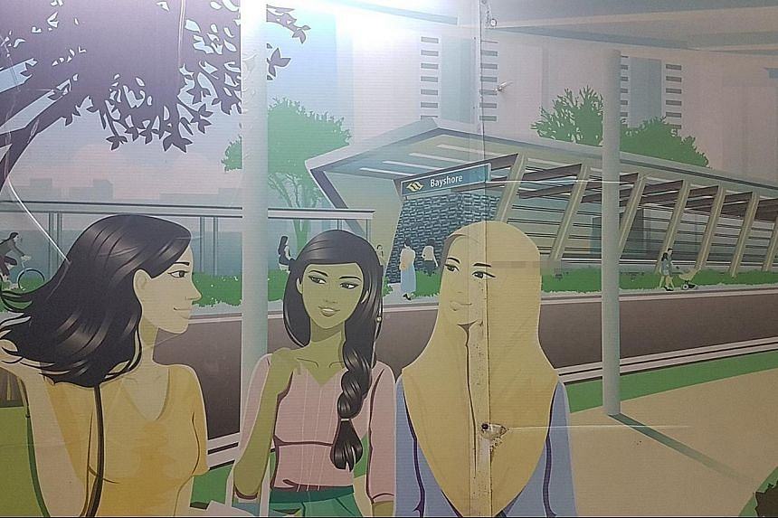 The illustration of a Muslim woman in a hijab is part of the artwork decorating a hoarding at the site of the upcoming Marine Parade MRT station.