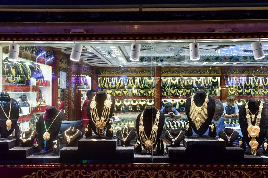 Gold jewellery being displayed at a shop in Dhaka, Bangladesh. Officials say that gold smuggling is at a record high in the country.