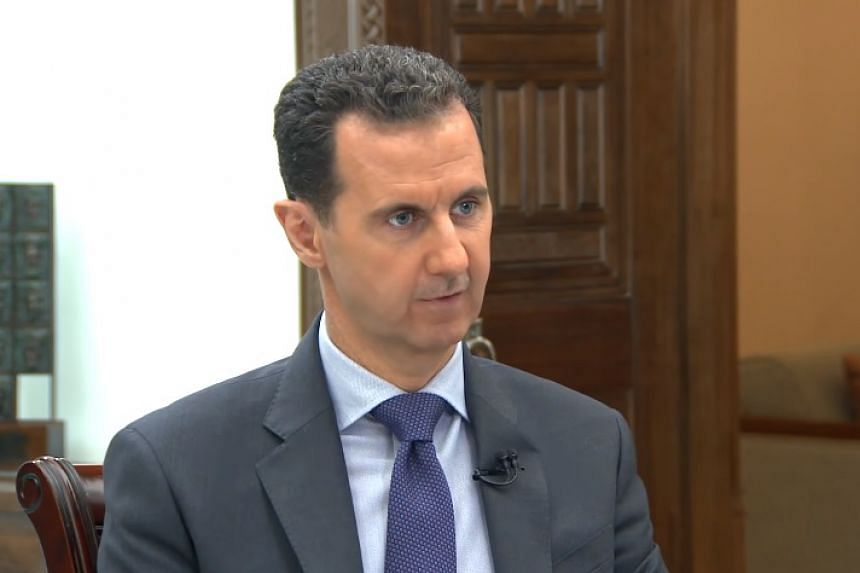 Syrian President Bashar al-Assad in a screenshot from an interview posted online.