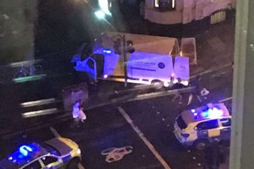 British police rushed to an incident on London Bridge after witnesses said a van ploughed into pedestrians.