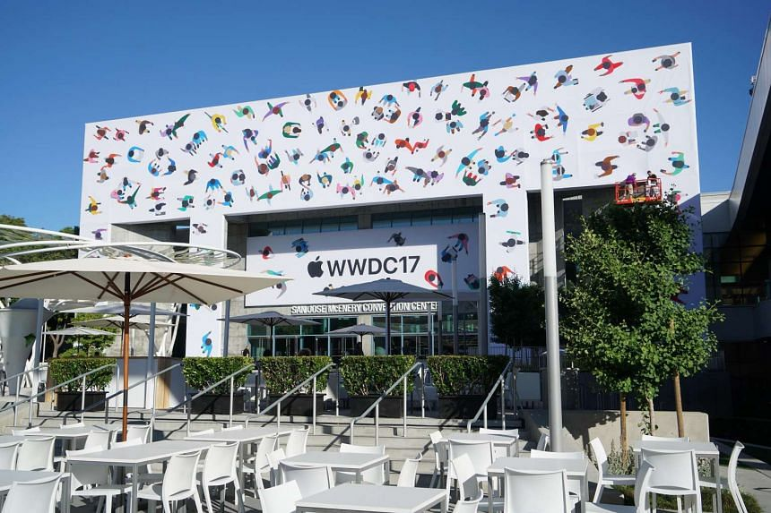 Decorations have been put up on the exterior of San Jose McEnery Convention Centre for Apple's upcoming Worldwide Developer Conference (WWDC) 2017.