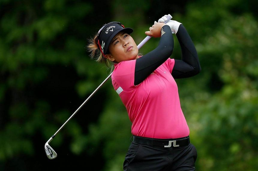 Ariya Jutanugarn of Thailand watches her tee shot on the seventh hole during the final round of the LPGA Volvik Championship on May 28, 2017.