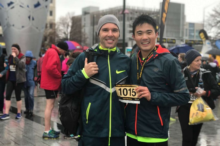 Singapore runner Mok Ying Ren (right) finished the Christchurch half-marathon with a time of 1hr 11min 34sec. It is off his personal best of 1:07:08 clocked in January 2016.