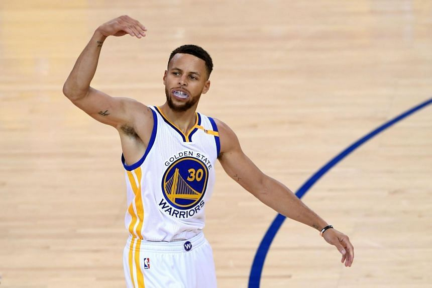 Golden State Warriors guard Stephen Curry reacting to a play during Game 1 of the NBA Finals, on June 1, 2017.
