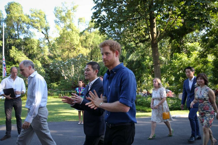 Prince Harry arriving at an Action for Aids reception at Eden Hall.