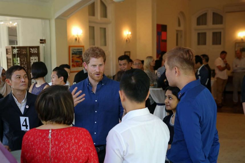 Prince Harry at an Action for Aids reception at Eden Hall.