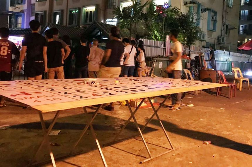 A man in his 20s was arrested at a gambling stall in Geylang on Sunday (June 4) night.