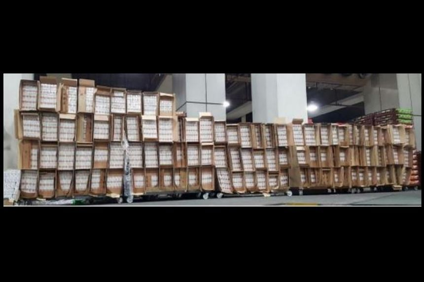 A total of 9,000 cartons of duty-unpaid cigarettes were seized.