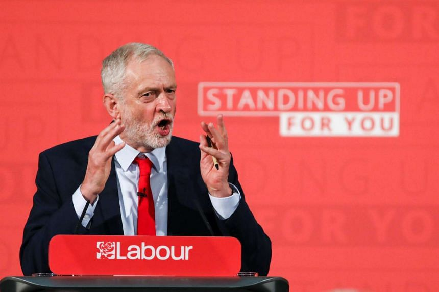 Jeremy Corbyn, leader of the UK opposition Labour party, gestures as he delivers his first campaign speech of the 2017 general election in London, UK, on Thursday, April 20, 2017.