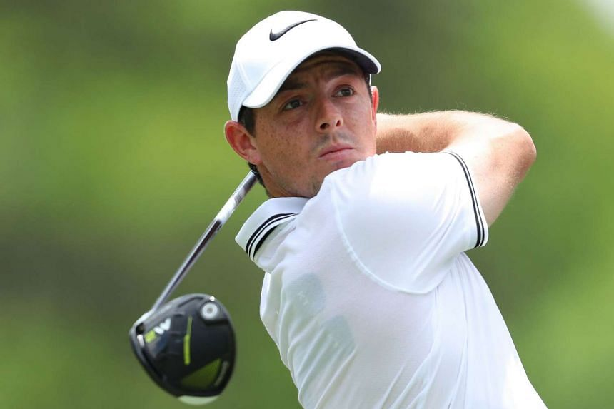 Rory McIlroy of Northern Ireland plays his shot from the ninth tee during the third round of THE PLAYERS Championship at the Stadium course at TPC Sawgrass on May 13, 2017 in Ponte Vedra Beach, Florida.