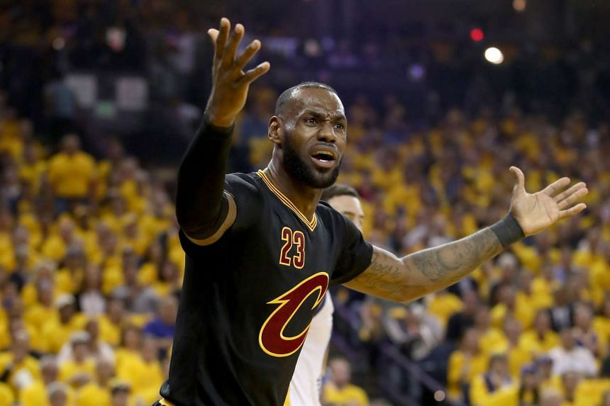 LeBron James #23 of the Cleveland Cavaliers reacts to a play against the Golden State Warriors in Game 2 of the 2017 NBA Finals at ORACLE Arena on June 4, 2017 in Oakland, California.