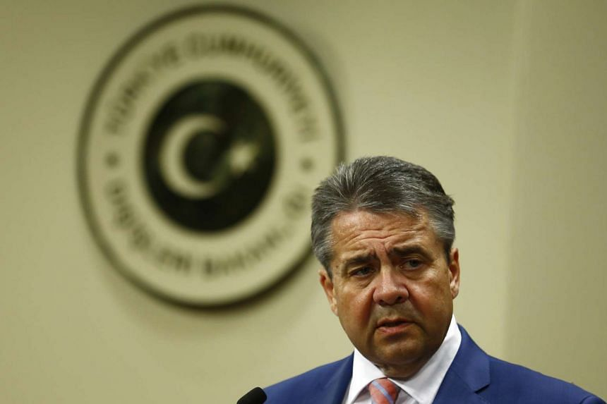 German Foreign Minister Sigmar Gabriel speaks during a news conference in Ankara, Turkey on June 5, 2017.