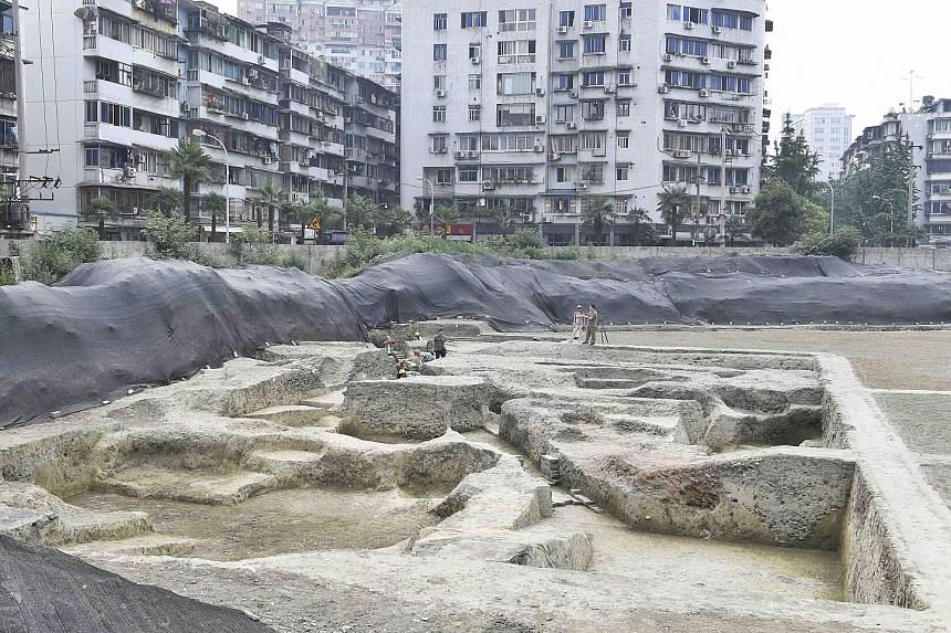 This photo taken last Friday shows the site of the famous Fugan Temple that was recently discovered in Chengdu, once an ancient capital city.