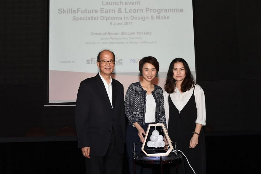 Nanyang Polytechnic's Edward Ho and Ms Low Yen Ling, with Teo Min Zhen, a recent graduate from Nanyang Polytechnic's Diploma in Industrial Design.