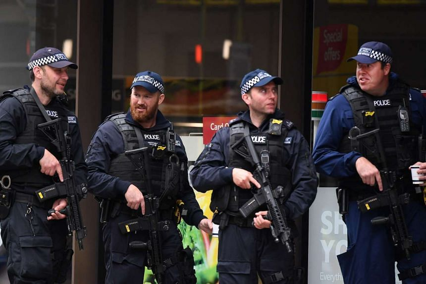 British armed police on duty near the site of an attack at Borough Market in London on June 4, 2017.