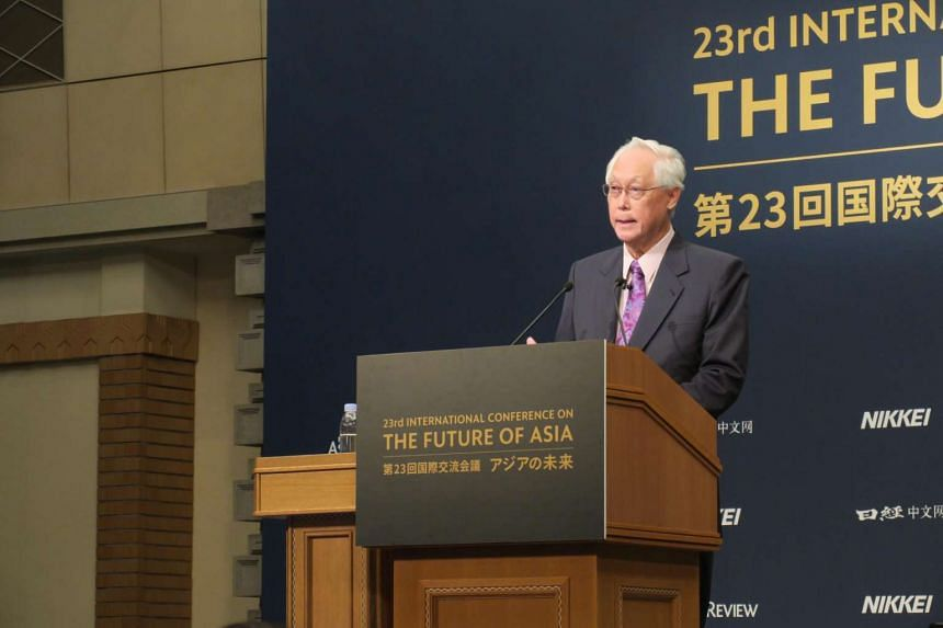 Emeritus Senior Minister Goh Chok Tong delivering a keynote address at the 23rd Nikkei Future of Asia conference in Tokyo on Monday (June 5).