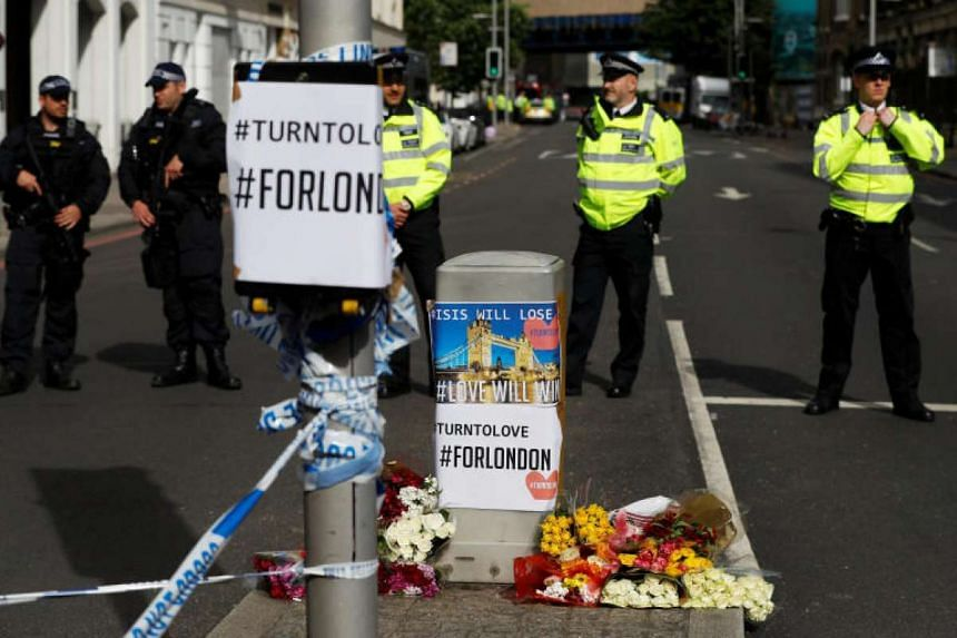 Flowers and messages left near Borough Market in London for victims of the June 3 attack.