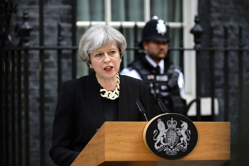 Britain's Prime Minister Theresa May speaks outside 10 Downing Street, on June 4, 2017.