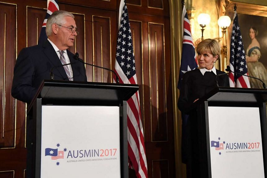 US Secretary of State Rex Tillerson   at a press conference with Australian Foreign Minister Julie Bishop   after their Australia United States Ministerial Consultations talks in Sydney on June 5, 2017.